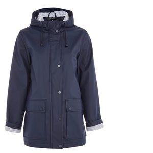 Topshop Maisie Navy Rain Jacket